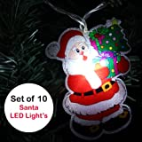WeRChristmas Father Christmas Santa Claus LED Character Lights String Decoration, Set of 10, White