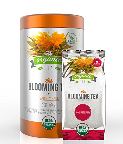 Organic Blooming Tea - 14-Count Variety Pack of Flowering Tea in a Gift Canister - 100% Organic Calendula Flowers and Green Tea Leaves in Hand Sewn Blooming Tea Balls - 2 of Each Wonderful Flavor (Kiss Pez Dispensers compare prices)