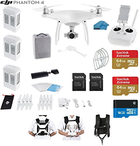 DJI-Phantom-4-Quadcopter-Drone-with-4K-Video-EVERYTHING-YOU-NEED-KIT-3-Total-DJI-Batteries-2-SanDisk-64GB-Micro-SDXC-Cards-Strap-Carry-System-Card-Reader-30