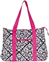 Large Roomy Canvas Tote Purse Beach Travel Bag w Attached