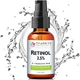 BEST Retinol Serum for Wrinkles & Fine Lines | 2.5% Vitamin A + Hyaluronic Acid, Vitamin E, Organic Green Tea, Aloe Vera & Jojoba Oil | Deeply Penetrates Skin to Reduce Wrinkles & Fine Lines and Unclog Pores & Treat Acne | Works Best With TruSkin Naturals Vitamin C Anti Aging Serum | (1oz)