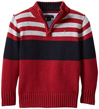 Tommy Hilfiger Little Boys' Wayne 1/2 Zip Sweater, Poison Berry, 2T