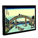 ArtWall Katsushika Hokusai's Fuji See Through The Mannen Bridge at Fukagawa Gallery Wrapped Floater-Framed Canvas Artwork, 12 x 18