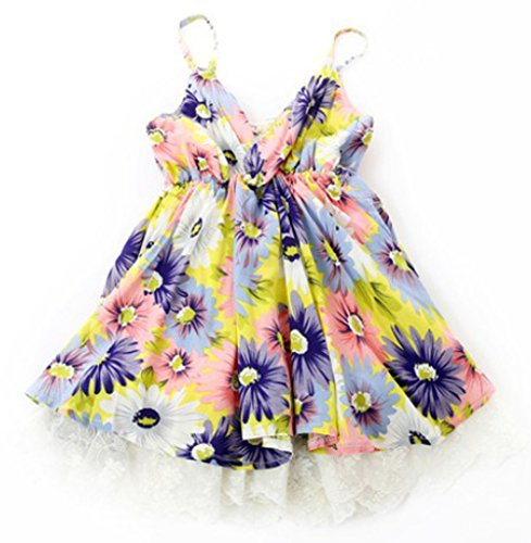 Baby Girls Kids Summer Beach Bohemian Dress Floral Lace One-Piece Casual Dresses