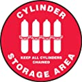"""Accuform Signs MFS0917 Slip-Gard Adhesive Vinyl Round Floor Sign, Legend """"CYLINDER STORAGE AREA KEEP ALL CYLINDERS CHAINED"""" with Graphic, 17"""" Diameter, White on Red"""