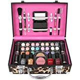 Ivation Carry All Makeup Train Case with Pro Makeup and Reusable Aluminum Case, Leopard + Jumbl Brush and Mirror Included