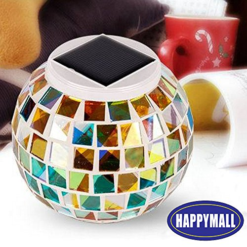 AOMOMO Solar Powered Waterproof Color Changing Mosaic Glass Ball LED Lights, Rainbow