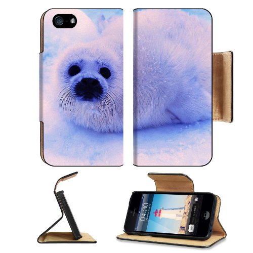 Animal Wildlife Seal Snow Cute White Furry Baby Apple Iphone 5 / 5S Flip Cover Case With Card Holder Customized Made To Order Support Ready Premium Deluxe Pu Leather 5 3/16 Inch (132Mm) X 2 11/16 Inch (68Mm) X 9/16 Inch (14Mm) Luxlady Iphone 5 Professiona front-1066560