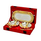 Odna Bichona Silver And Gold Plated Floral Shaped Brass Bowl And Tray Set Of 5 Pcs (22.86X6.35X12.7, Silver And...