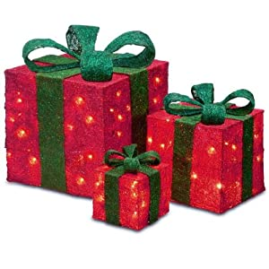 Amazon Com Set Of 3 Sparkling Red Sisal Gift Boxes