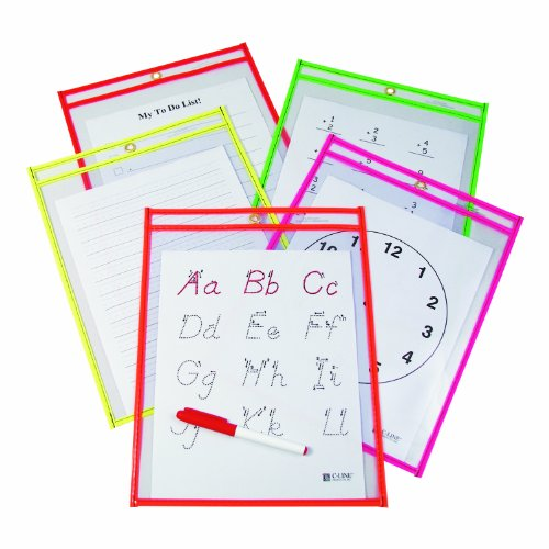 C-Line Reusable Dry Erase Pockets, 9 x 12 Inches, Clear with Assorted Neon Color Trim, 10-Count (40810)