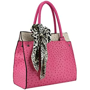 MG Collection DORIT Pink / Beige Ostrich Embossed Shoulder Tote Style Handbag