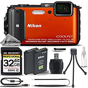 Nikon COOLPIX AW130 Waterproof Digital Camera Orange + 32GB CLASS 10 Memory Card + Backup Battery + Card Reader + Mini Tripod + Cleaning Kit. All Original Accessories Included - International Version