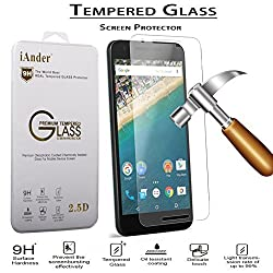 Nexus 6P Screen Protector - iAnder Huawei Google Nexus 6P Tempered Glass Screen Protector - 0.3mm thickness / 2.5D Rounded Edge / Industry 12H Hardness with Oleophobic Coating ,HQ Clarity and Maximum Touchscreen Accuracy