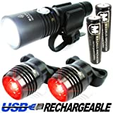 Vision II® Lifetime Warranty - 860 Lumen USB Rechargeable Bike Light - Two FREE USB Tail Lights, Extra Battery, Carrying Bag - Fits All Bikes, Easy Install (No Tools), Quick Release, Front & Back Mount - Limited Time Offer - Try RISK-FREE!