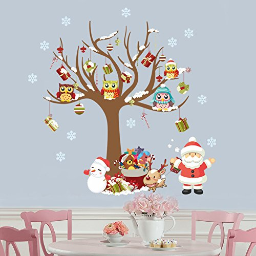 WDA Merry Christmas Wall Decals Happy New Year Santa Claus Owls On Tree Stickers PVC Removeble Wall Stickers Nursery Decor Christmas Decoration