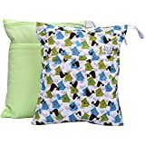 Blulu Baby Waterproof Wet And Dry Cloth Diaper Bags, 2 Pieces