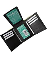 Mens Trifold Wallet Extra Capacity Inside Slots 2 ID Windows by Marshal ®