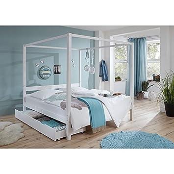 Himmelbett mit Bettschubkasten massiv weiß lackiert ● Liegefläche 180x200cm ● Doppelbett Ehebett Gästebett