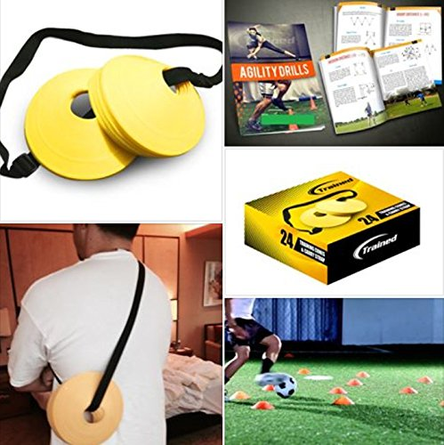 Trained Sports Set of 24 Soccer Cones, 2 Inch, Free Shoulder Carry Strap and Free Agility Drills eBook (Yellow) Lifetime Guarantee (Motorcycle Practice Cones compare prices)