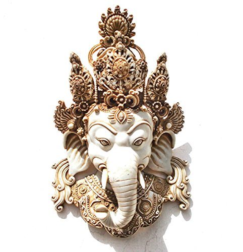 CraftVatika's Himalayan Vintage Style Ganesh Wall Hanging, Tibetan Buddha Shiva Head Mask, Hindu Lord Ganesha Wall Sculpture Art