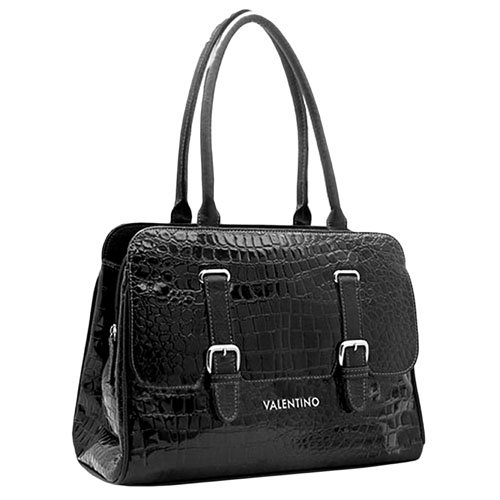 Valentino Black Reptile Textured Handbag Purse With Buckles