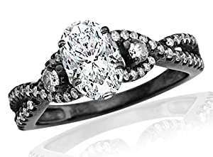 2.45 Carat GIA Certified Black Diamond Twisting Split Shank 3 Stone Diamond Engagement Ring (E Color, VS2 Clarity)