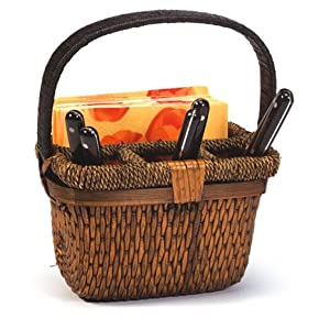Hand Woven Split Willow Caddy For Picnic and Outdoors - Holds Flatware & Napkins