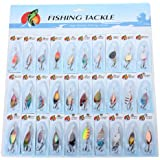 SODIAL(R) 30 X Metal Mixed Spinners Fishing Lure Pike Salmon Baits Bass Trout Fish Hooks