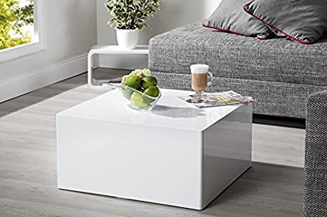 DuNord Design Couchtisch Sofatisch MONOLIT 50cm weiss Hochglanz Retro Design Lounge Möbel