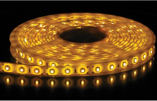 Flexible Waterproof Lighting Strip LED Ribbon 5 Meter or 16.4 Ft 12v for All your Decorations (Yellow) with Power Adapter included
