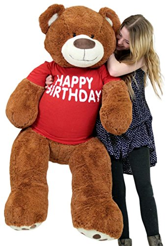 Big-Plush-Happy-Birthday-Giant-Teddy-Bear-Five-Feet-Tall-Cinnamon-Color-Wears-T-shirt-That-Says-HAPPY-BIRTHDAY