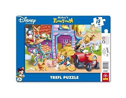Trefl - 31057 - Puzzle en Forme de Cadre - Mickey à la Ferme - 15 Pièces