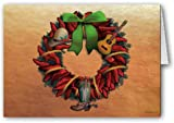 Western Chili Pepper Wreath Christmas Card 12 cards/ 13 envelopes