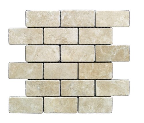 Durango Cream 2 X 4 Tumbled Travertine Brick Mosaic Tile - 6 X 6 Sample