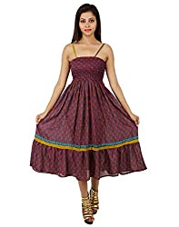 Gorgeous Polyester Leaves Dress Pink Printed Medium For Girl's By Rajrang