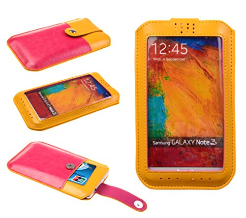 Big Dragonfly Soft Pu Leather Ultra Slim View Window Case Protective Cover With Card Slot And Magnetic Button For Samsung Galaxy Note 3 Note Iii N9000 + One Piece Big Dragonfly Logo Handstrap Yellow And Plum