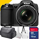 Nikon COOLPIX L820 Black with Camera Case, 16GB SD Memory Card, Table Top Tripod, Lens Cleaning Kit and More
