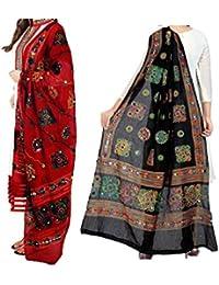 Women'S Cotton Embroidery & Mirror Work Dupatta Multi Color Stoles & Dupattas Set Of 2