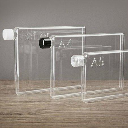 薄いノート型の水筒メモボトル