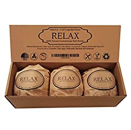 Relax Bath Bomb Gift Set - Stress Relieving Blend - 3 Extra Large, 2 3/4 6.0 Oz. by Natural Spa Bath