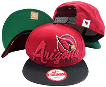 Arizona Cardinals Red Black Two Tone Script Snapback Adjustable Plastic Hat Cap by New Era