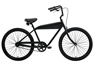 Nirve B-1 Men's Single Speed Cruiser Bike (26-Inch Wheels, Matte Black)