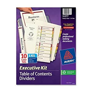 Avery executive ready index table contents dividers 10 for Avery table of contents template 10 tab