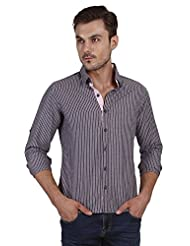 Navy Cotton Shirt With Pink Stripes