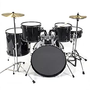 Drum Set 5 Pc Complete Adult Set Cymbals Full Size Black Drum Set from Best Choice Products