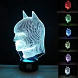 HUI YUAN Batman 3D Lamp Room Bedroom Decorative Night Light Multi 7 Color Change USB Cable Smart Touch Button LED Desk Table Light Kids Kiddie Gift Home Decoration
