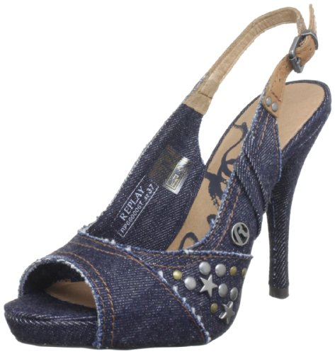Replay Women's Eyla Blue Slingbacks Heels GWP66 .002.C0006T.010 6 UK