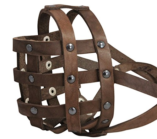 Real Leather Dog Basket Muzzle #112 Brown (Circumference 13
