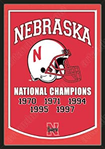 Dynasty Banner Of Nebraska Huskers With Team Color Double Matting-Framed Awesome... by Art and More, Davenport, IA